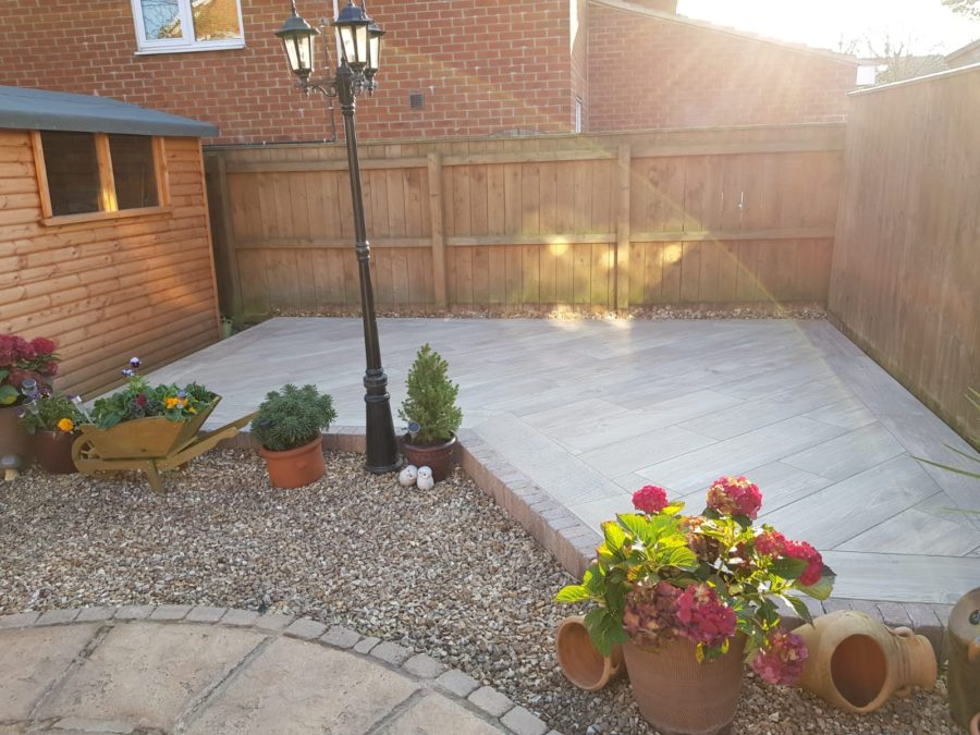 finished porcelain patio area
