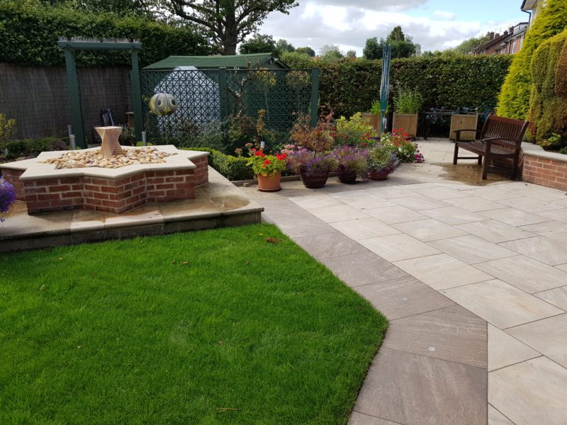 completed two colour porcelain patio