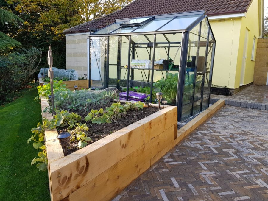 Wyness raised vegetable beds and greenhouse