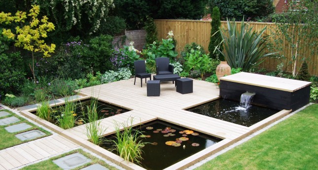 decking area with water feature
