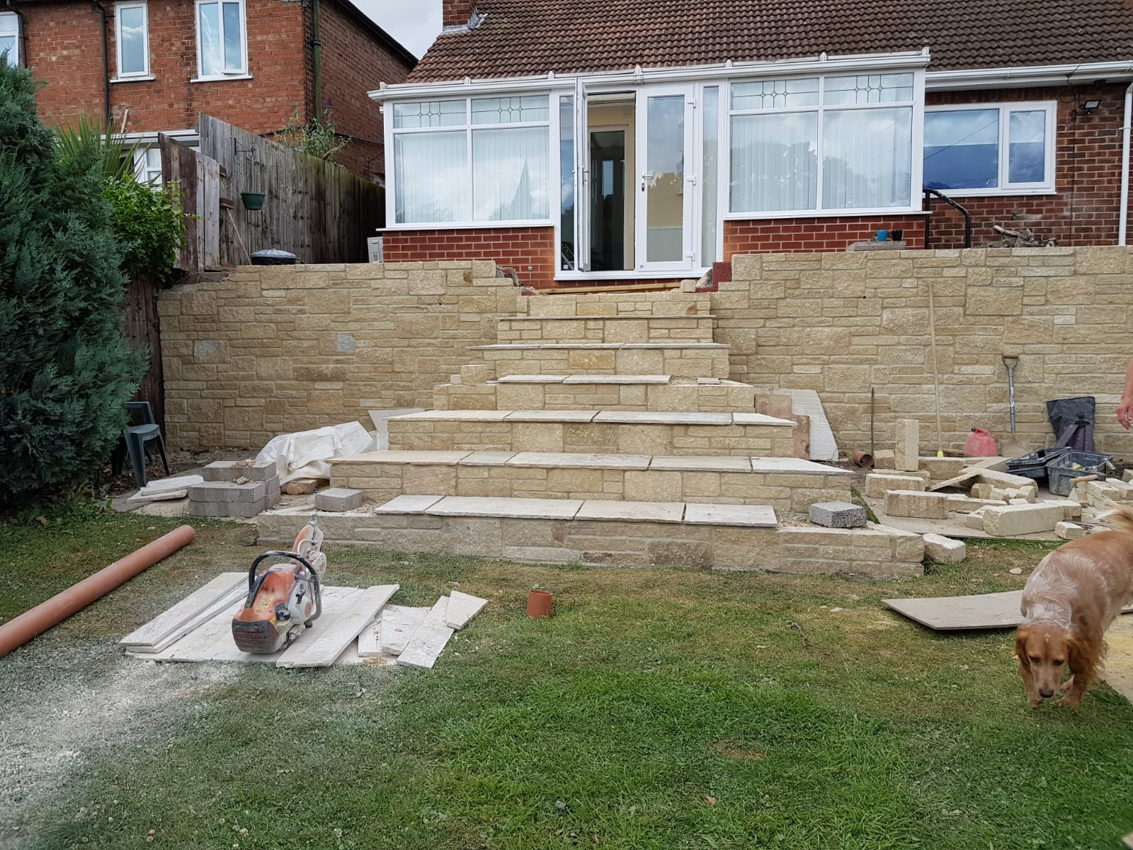 construction of steps and wall