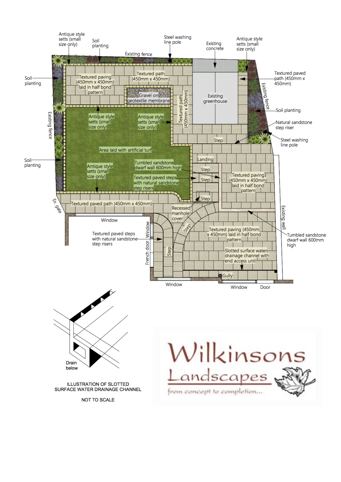 digital plan for textured path, steps and patio area