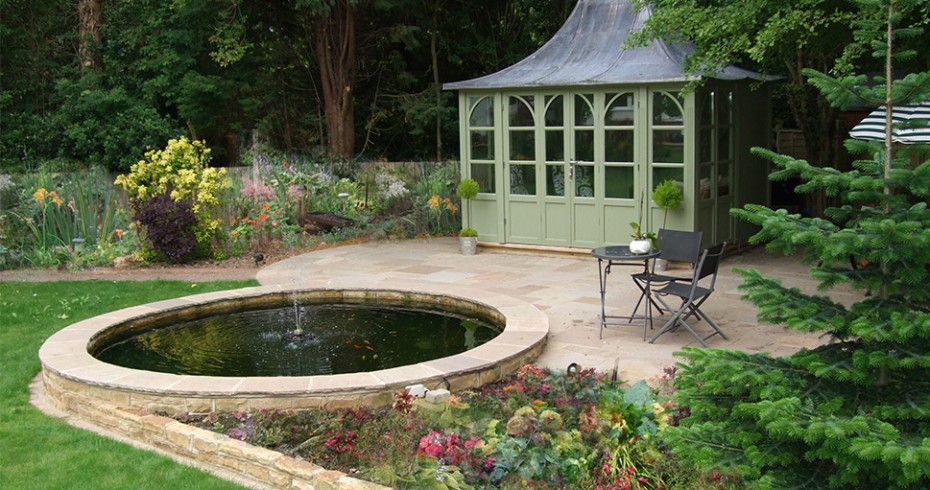 garden design with patio and pond