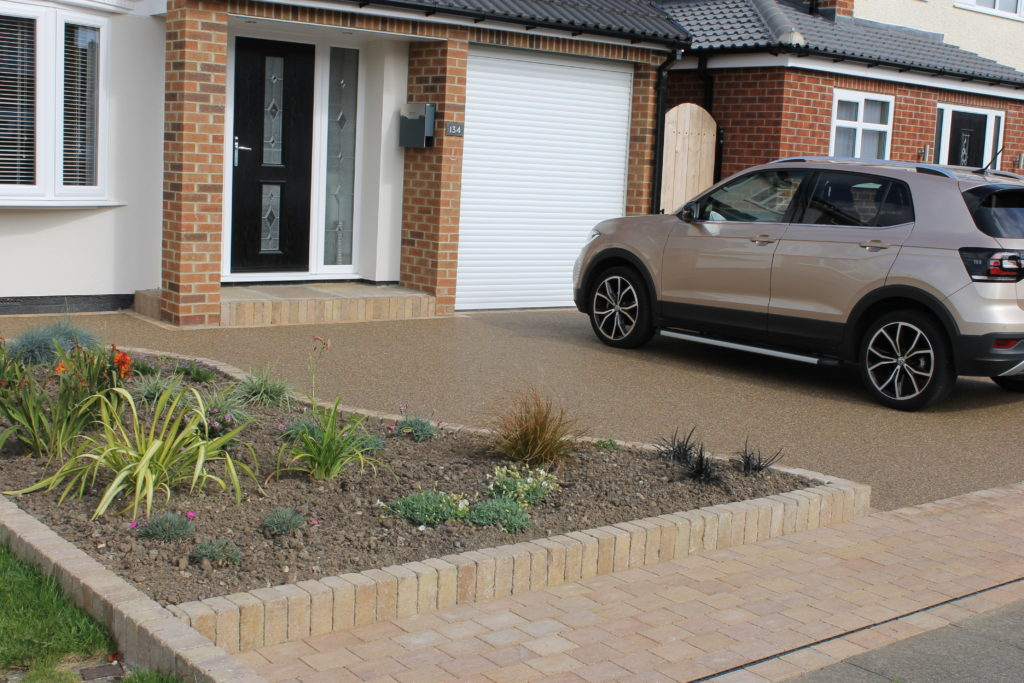 resin driveway and flower bed