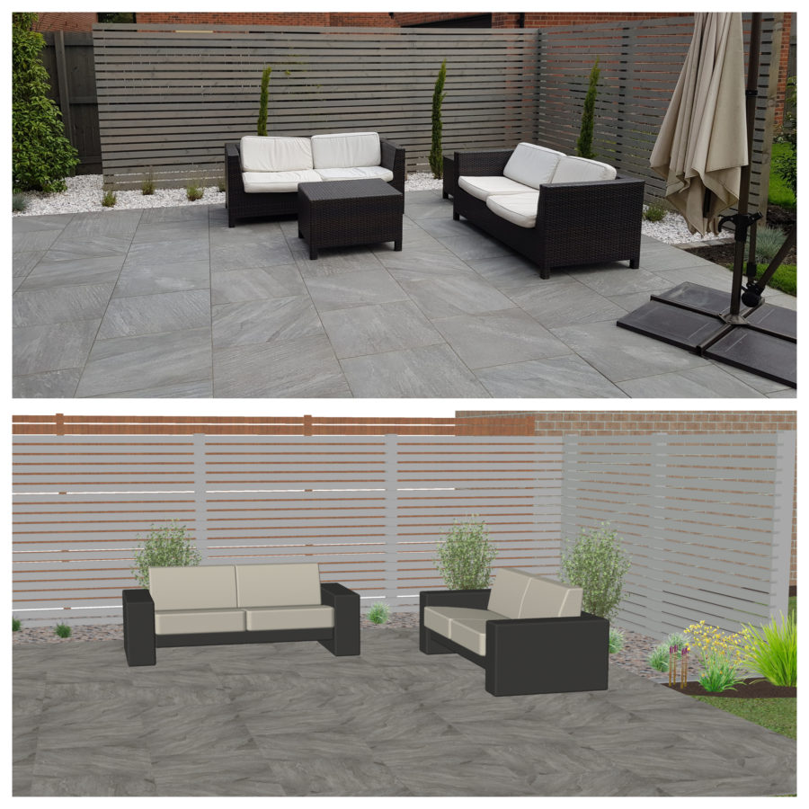 plan and completion contrast of garden design