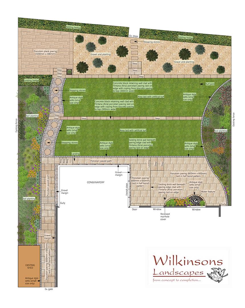 multi level garden design 2D drawing