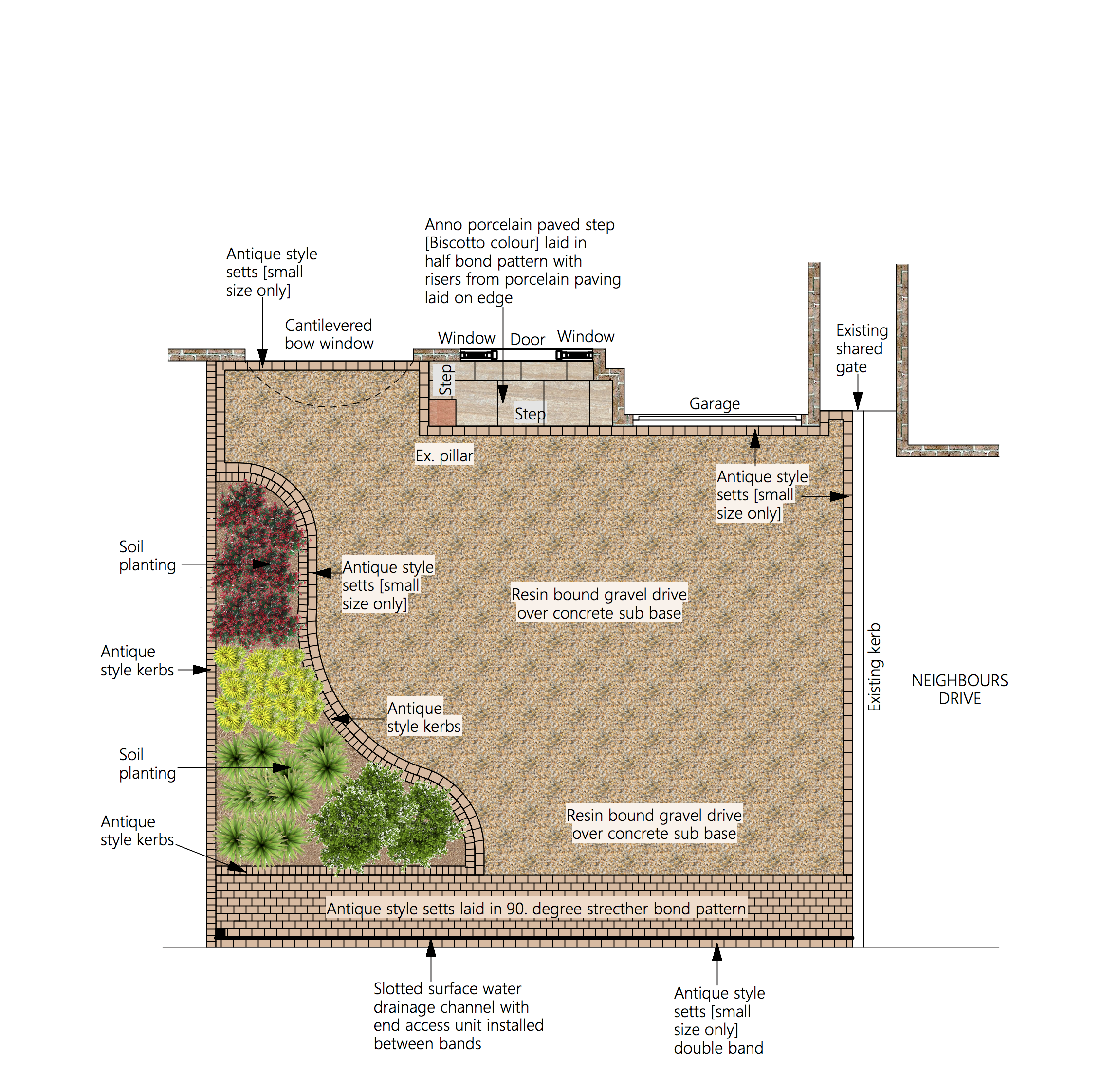 plans for a bonded resin driveway and flowerbeds